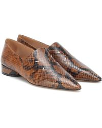 Maison Margiela Snake-effect Leather Shoes - Brown