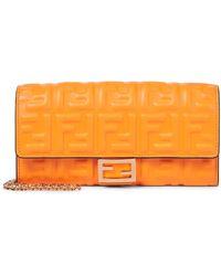 Fendi Clutch portafoglio Baguette in nappa - Arancione