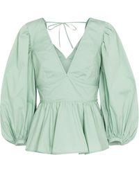 STAUD Luna Stretch-cotton Peplum Blouse - Green