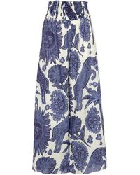 Johanna Ortiz Pantalon La Esperanza en coton imprimé - Bleu