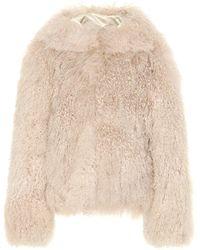 Alaïa Manteau à capuche en shearling - Neutre