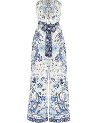 Camilla Embellished Printed Silk Jumpsuit - Blue
