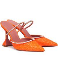 AMINA MUADDI Gilda Crystal-embellished Mules - Orange