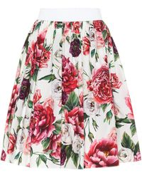 Dolce & Gabbana - Floral-printed Cotton Skirt - Lyst