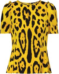 Dolce & Gabbana Bedrucktes Top aus Seiden-Cady - Gelb