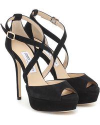Jimmy Choo Jenique 125 Suede Sandals - Black