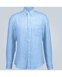 Brunello Cucinelli Long-sleeved Linen Shirt - Blue