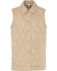 Burberry Cropthorne Quilted Vest - Natural