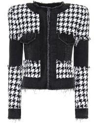 Balmain Houndstooth Cotton-blend Jacket - Black