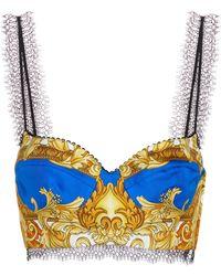 Versace Bralette de seda estampado - Azul