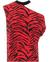 RTA Axel Rib Neck Cut Out Tee Ruby Zebra - Red