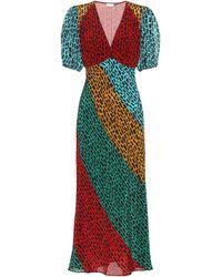 RIXO London Amber Giraffe Short-sleeve Midi-dress - Multicolour
