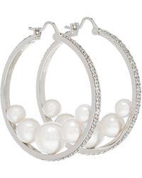 Miu Miu Créoles à perles fantaisie et cristaux - Métallisé