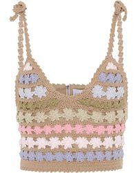 She Made Me Maaia Crochet Crop Top - Brown
