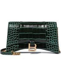 Balenciaga Hourglass S Leather Shoulder Bag - Green