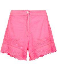 Juliet Dunn Bestickte Shorts aus Baumwolle - Pink