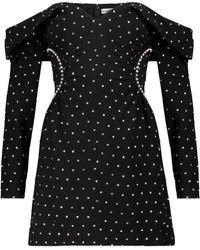 Self-Portrait Embellished Off-shoulder Minidress - Black
