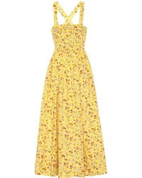 Polo Ralph Lauren Floral Cotton Midi Dress - Yellow