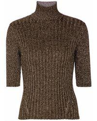 Ganni Ribbed-knit Turtleneck Top - Brown