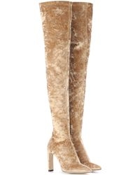 Jimmy Choo Lorraine 100 Velvet Over-the-knee Boots - Natural