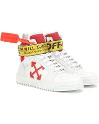 Off-White c/o Virgil Abloh Exklusiv bei Mytheresa – High-Top-Sneakers aus Leder - Weiß