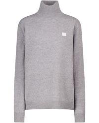 Acne Studios Face Wool Turtleneck Sweater - Gray