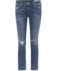 Rag & Bone Jeans boyfriend Dre ajustados cropped - Azul