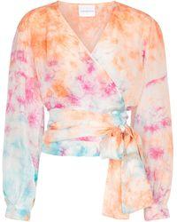 Anna Kosturova Top envolvente de seda tie-dye - Multicolor