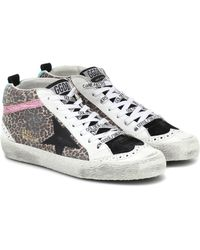 Golden Goose Deluxe Brand Mid Star Leopard-print Trainers - Multicolour