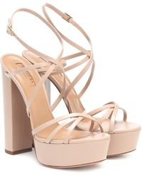 Aquazzura Gin 140 Leather Platform Sandals - Pink