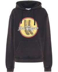 JW Anderson - Printed Hooded Washed Jersey Sweatshirt - Lyst