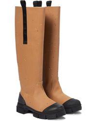 Ganni Rubber Knee-high Boots - Brown