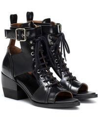 Chloé Cutout Lace-up Leather Sandals - Black