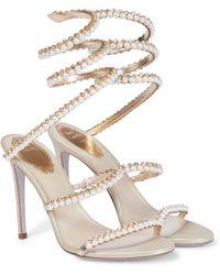 Rene Caovilla Cleo Faux Pearl-embellished Leather Sandals - Metallic