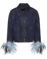 Prada Feather-trimmed Denim Jacket - Blue