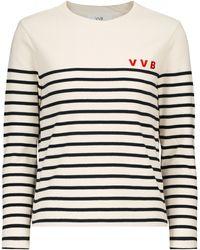 Victoria, Victoria Beckham Jersey de algodón a rayas - Blanco