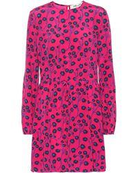 Diane von Furstenberg Vestido corto de seda estampado - Rosa