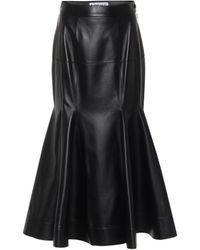 Loewe Leather Midi Skirt - Black