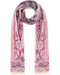 Etro - Printed Silk Scarf - Lyst