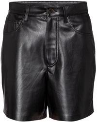 Nanushka Leana Faux Leather Shorts - Black