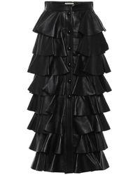 Saint Laurent Tiered Ruffled Leather Maxi Skirt - Black
