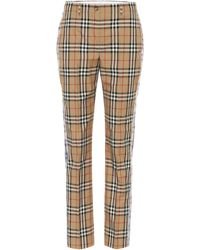 Burberry Checked High-rise Straight-leg Trousers - Natural