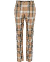 Burberry Pantalon de tailleur en coton à carreaux - Neutre