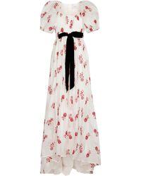 Erdem Robe longue Clarigold en coton à fleurs - Blanc