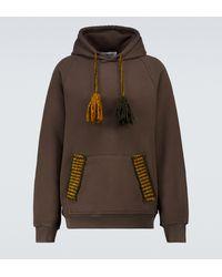 Adish Hooded Cotton Sweatshirt - Brown