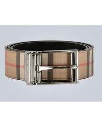 Burberry Leather Classic Check Belt - Black