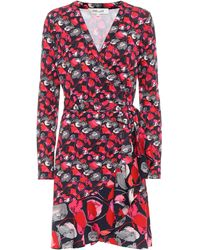 Diane von Furstenberg Robe portefeuille Elita imprimée en soie - Rouge