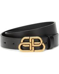Balenciaga Bb Leather Belt - Black