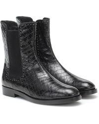 Max Mara Anne Croc-effect Ankle Boots - Black