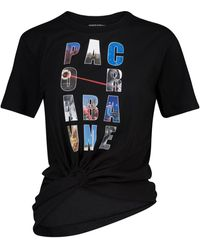 Paco Rabanne T-shirt in cotone con logo - Nero